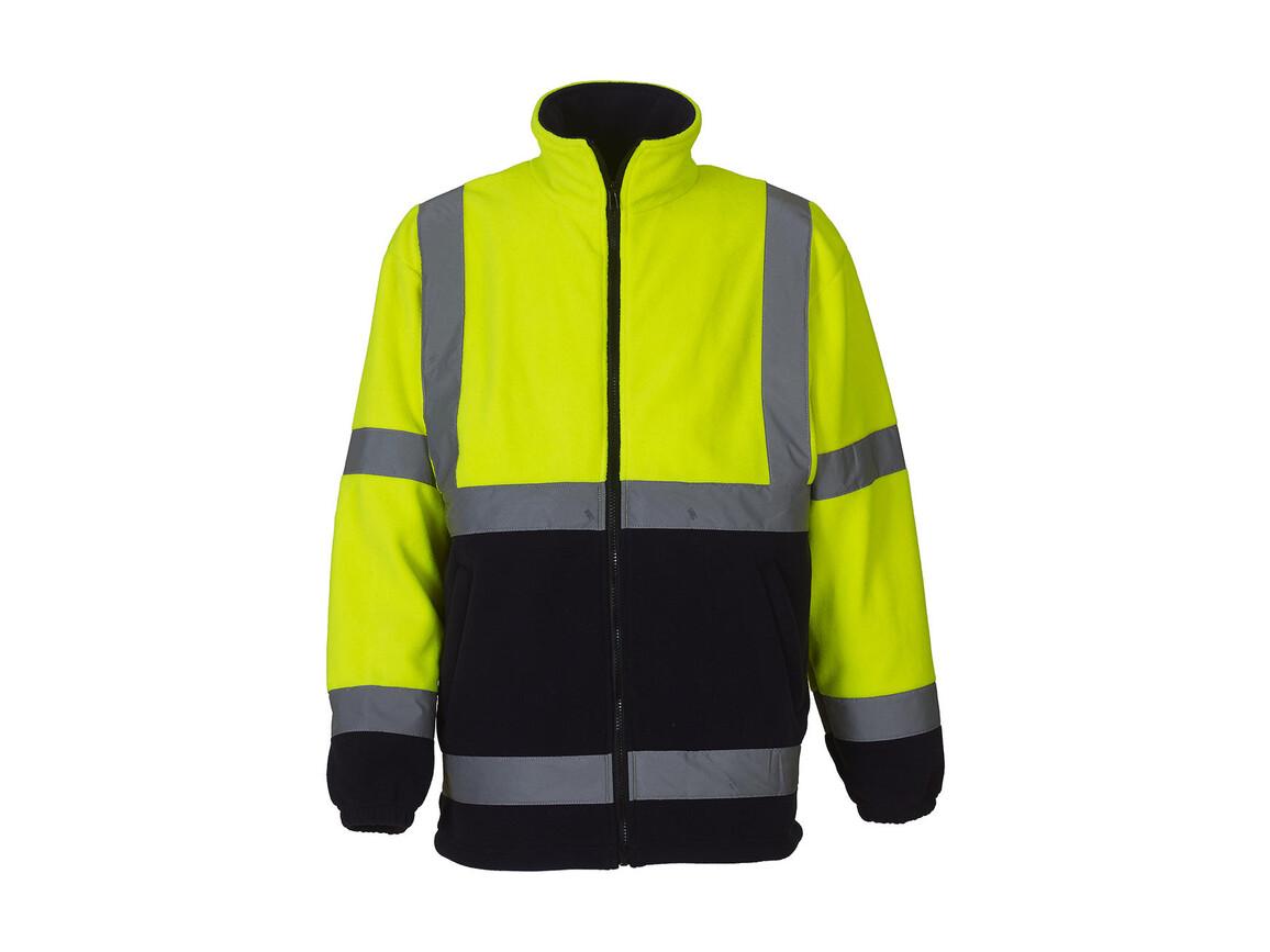Yoko Fluo Fleece Jacket, Fluo Yellow/Navy, L bedrucken, Art.-Nr. 877776523