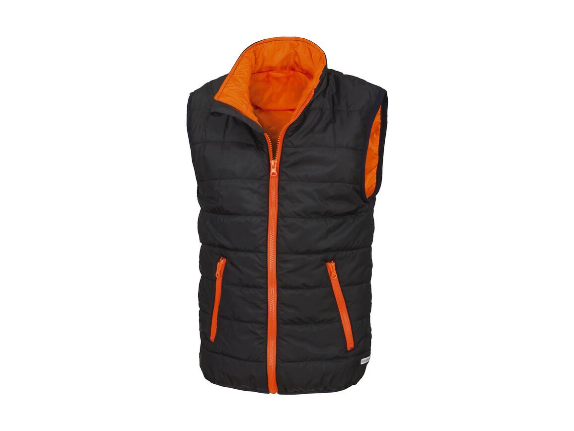 Result Junior/Youth Padded Bodywarmer, Black/Orange, S (5-6) bedrucken, Art.-Nr. 879331783