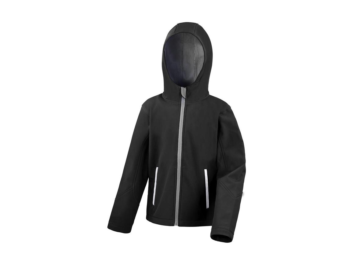 Result Kids TX Performance Hooded Softshell Jacket, Black/Grey, XS (3-4) bedrucken, Art.-Nr. 880331512