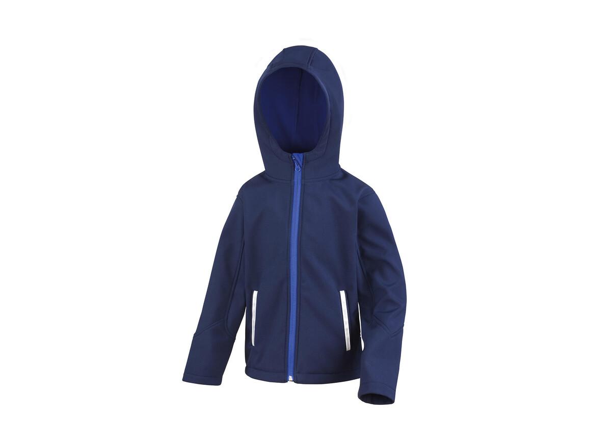 Result Kids TX Performance Hooded Softshell Jacket, Navy/Royal, XL (11-12) bedrucken, Art.-Nr. 880332376