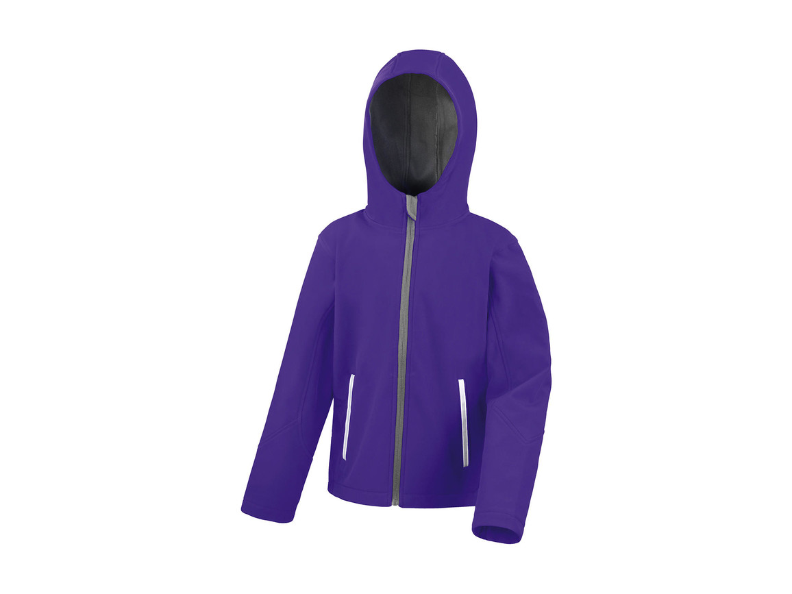 Result Kids TX Performance Hooded Softshell Jacket, Purple/Grey, 2XL (13-14) bedrucken, Art.-Nr. 880333647