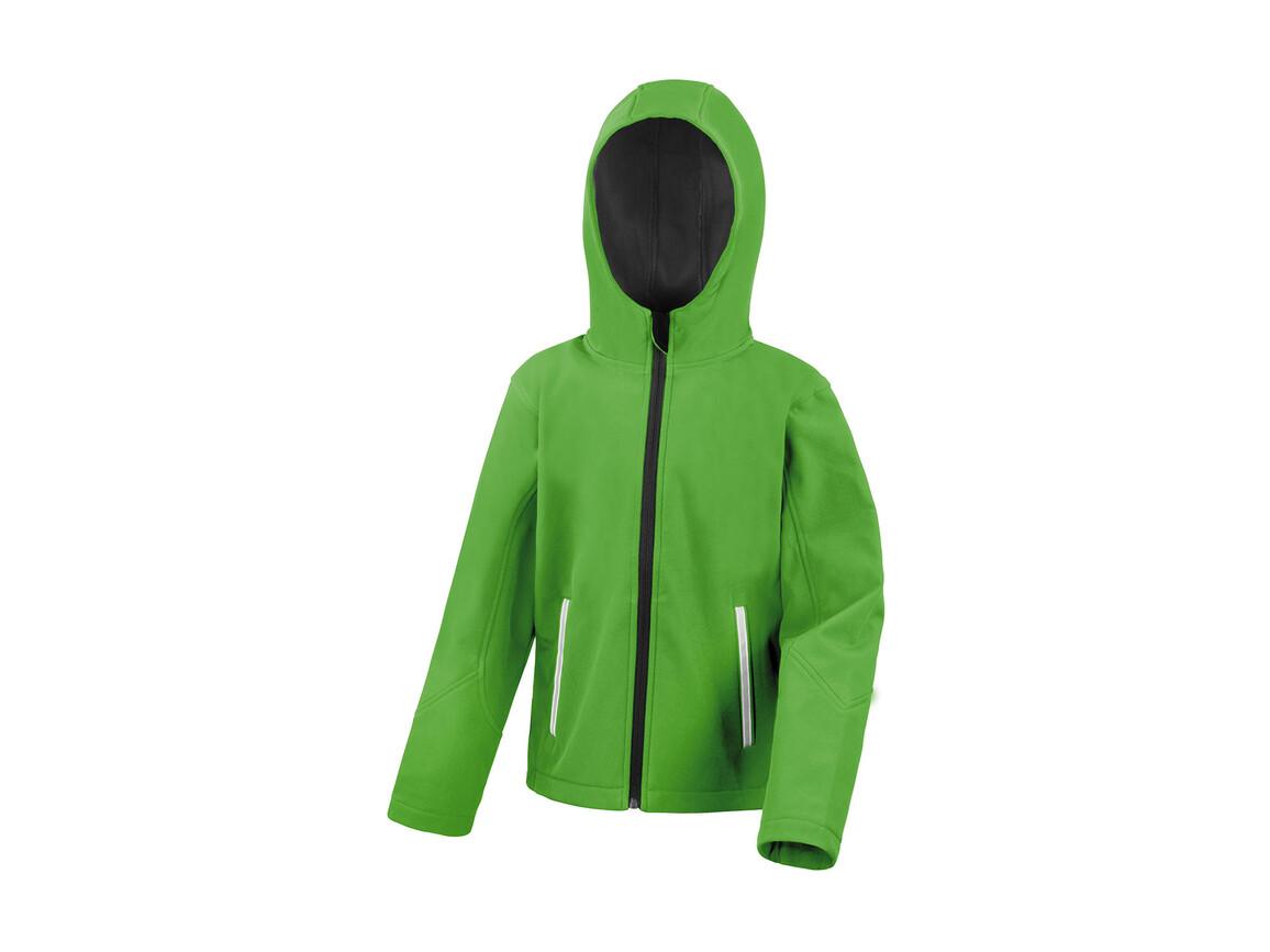 Result Kids TX Performance Hooded Softshell Jacket, Vivid Green/Black, XL (11-12) bedrucken, Art.-Nr. 880335546