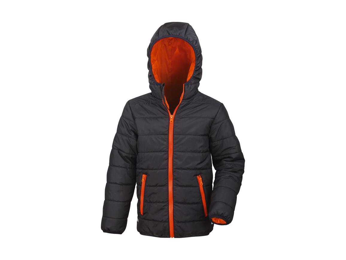 Result Junior/Youth Soft Padded Jacket, Black/Orange, S (5-6) bedrucken, Art.-Nr. 881331783