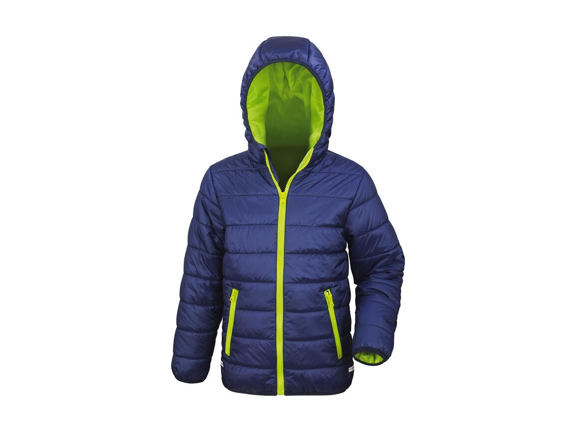 Result Junior/Youth Soft Padded Jacket, Navy/Lime, L (9-10) bedrucken, Art.-Nr. 881332565