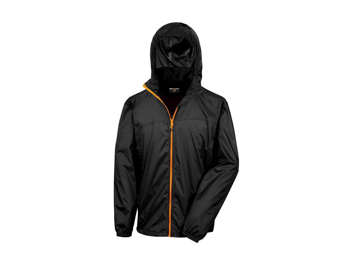 Result Hdi Quest Lightweight Stowable Jacket, Black/Orange, 3XL bedrucken, Art.-Nr. 889331788