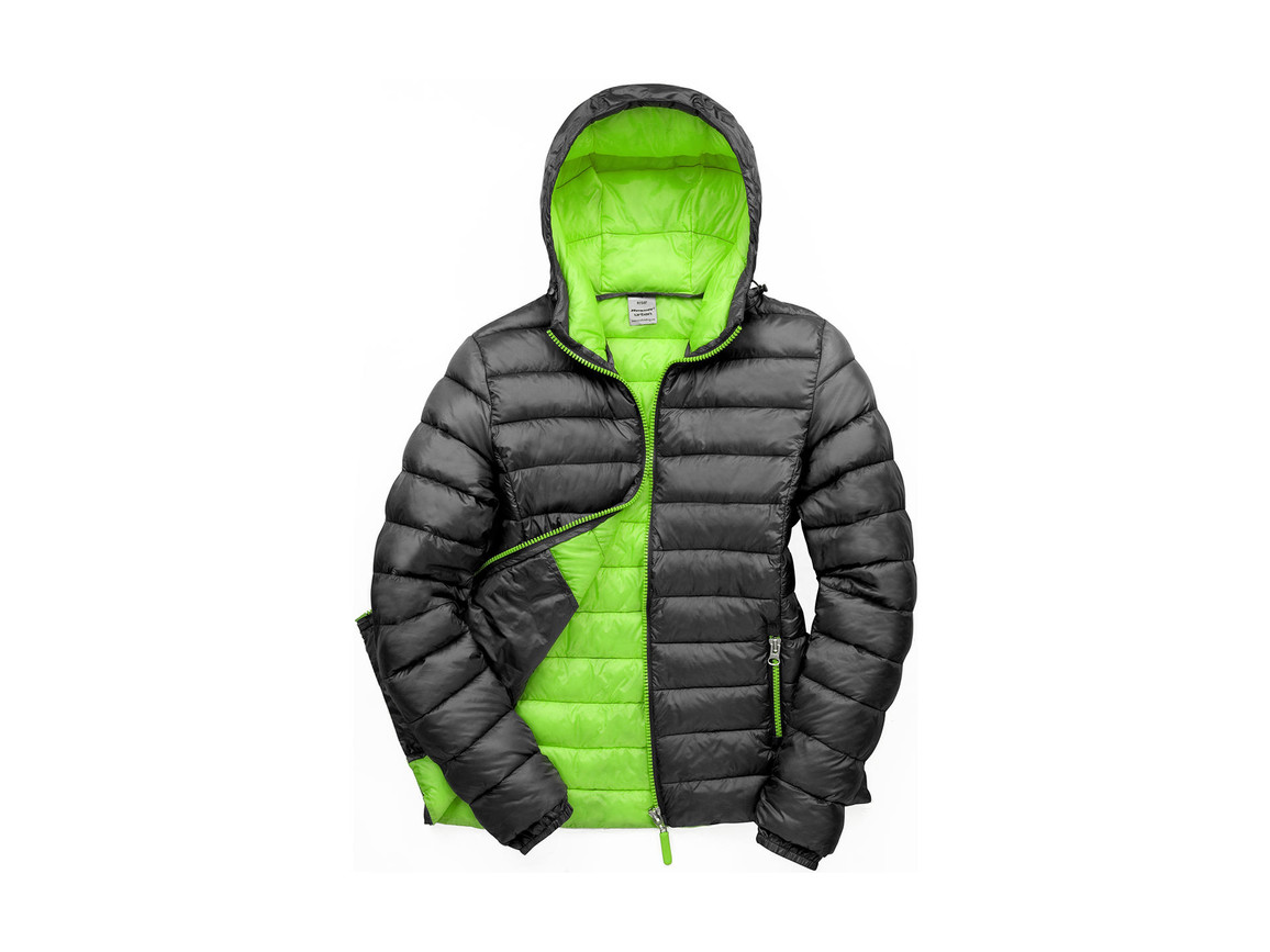 Result Ladies` Snow Bird Hooded Jacket, Black/Lime, XL (16) bedrucken, Art.-Nr. 894331716