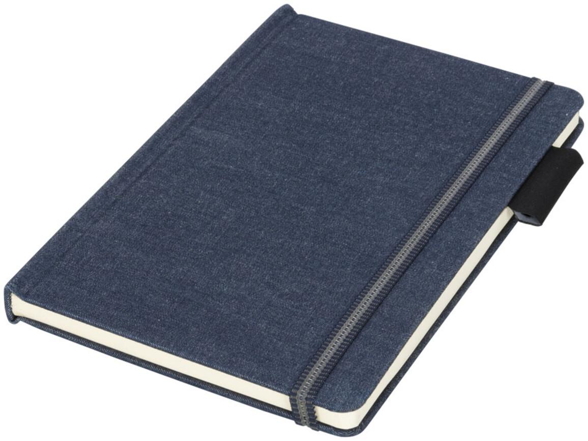 Jeans A5 Stoff Notizbuch, dunkelblau bedrucken, Art.-Nr. 10732101