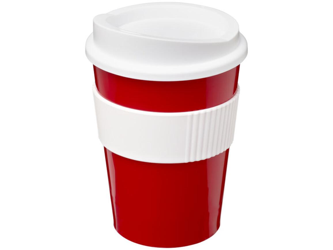 Americano® Medio 300 ml Becher mit Schutzring, rot, weiss bedrucken, Art.-Nr. 21000817