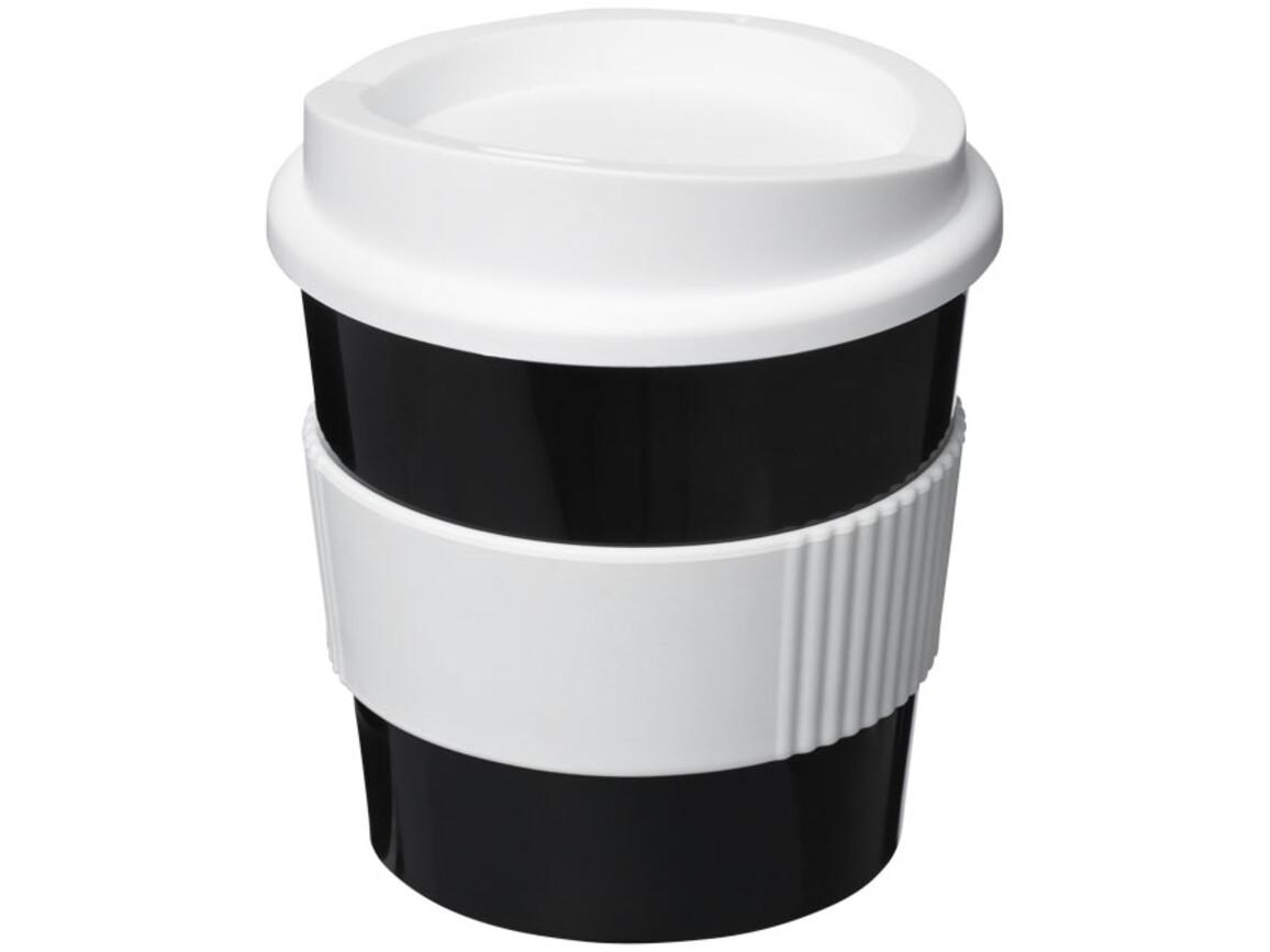 Americano® Primo 250 ml Becher mit Schutzring, schwarz, weiss bedrucken, Art.-Nr. 21001001