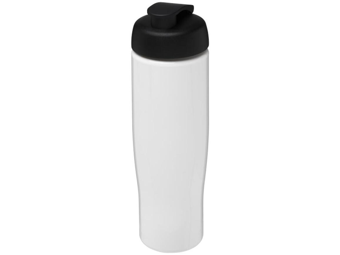 H2O Tempo® 700 ml Sportflasche mit Klappdeckel, weiss, schwarz bedrucken, Art.-Nr. 21004015