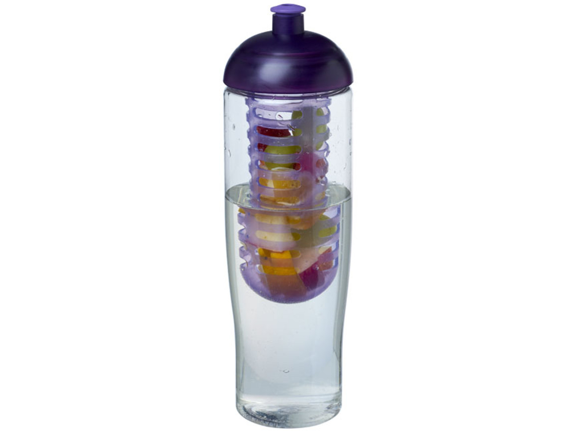 H2O Tempo® 700 ml Sportflasche mit Stülpdeckel und Infusor, transparent, lila bedrucken, Art.-Nr. 21004307