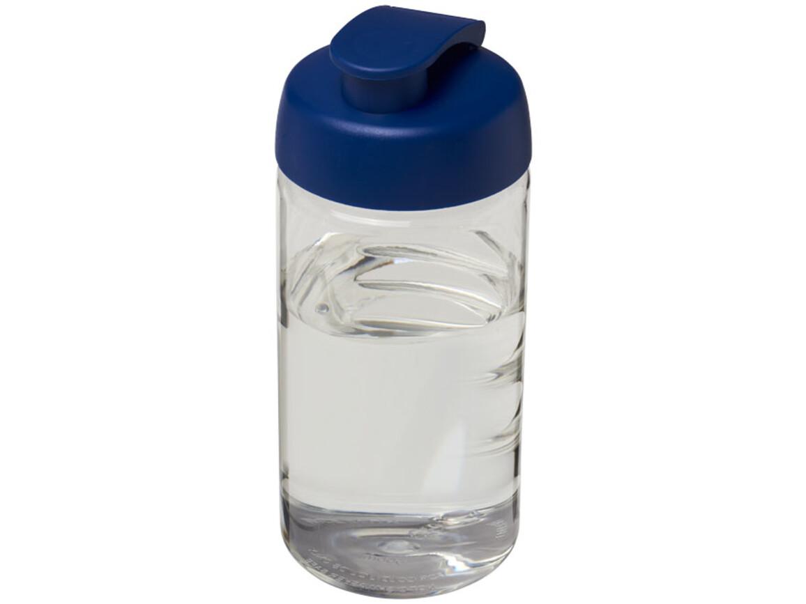 H2O Bop® 500 ml Sportflasche mit Klappdeckel, transparent, blau bedrucken, Art.-Nr. 21005002