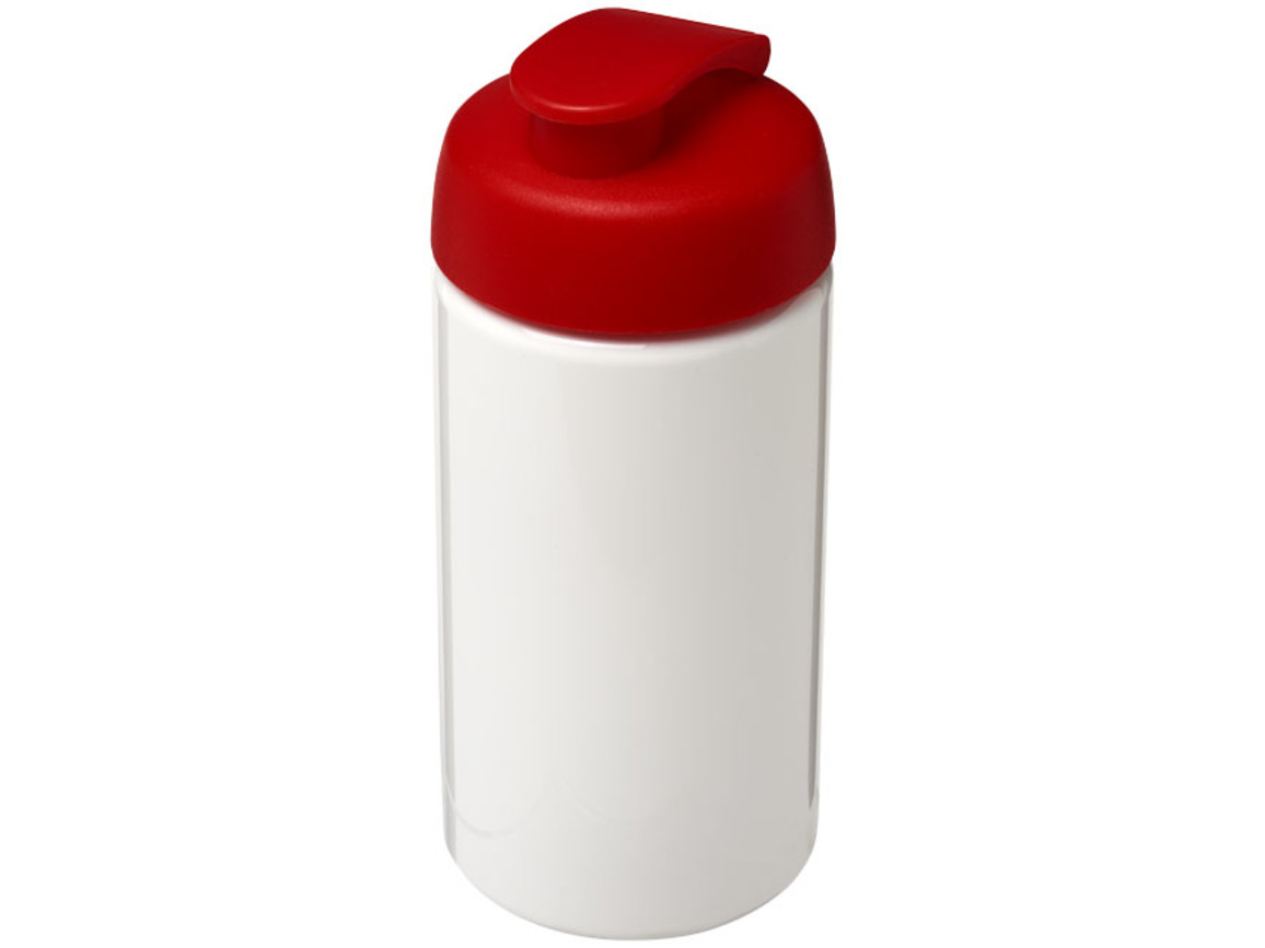H2O Bop® 500 ml Sportflasche mit Klappdeckel, weiss, rot bedrucken, Art.-Nr. 21005014