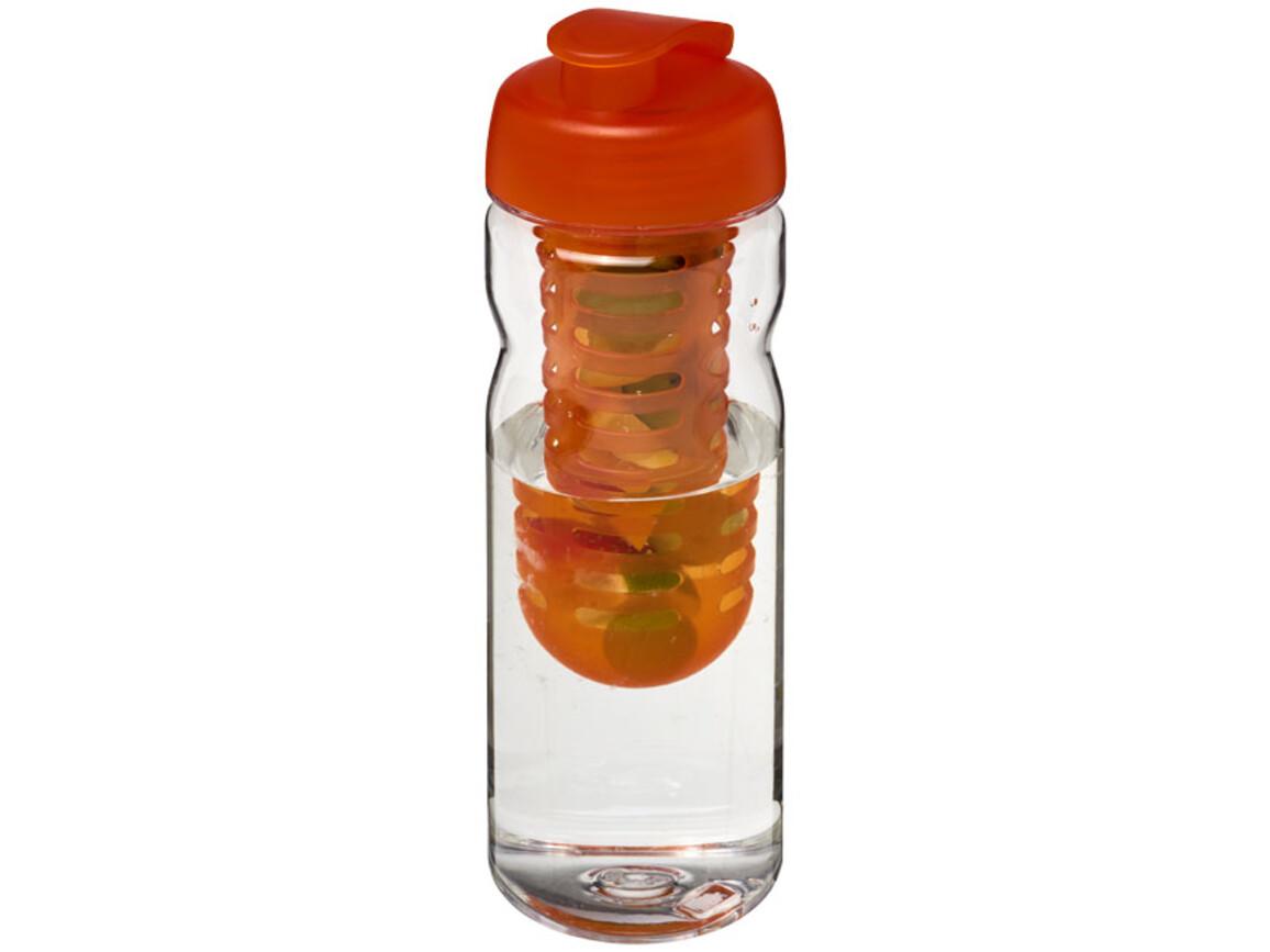 Base Tritan™ 650 ml Flasche mit Klappdeckel und Infusor, transparent, orange bedrucken, Art.-Nr. 21005905