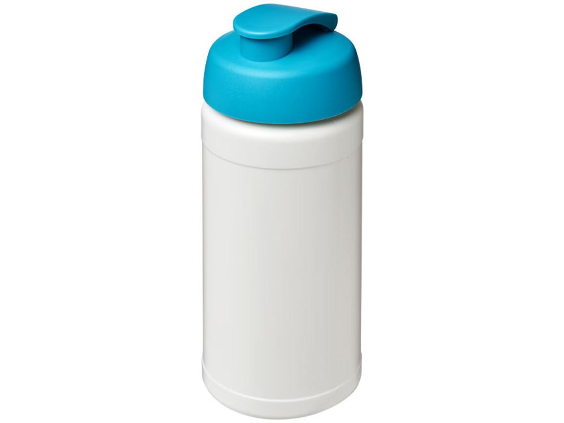 Baseline® Plus 500 ml Sportflasche mit Klappdeckel, weiss, aquablau bedrucken, Art.-Nr. 21006805