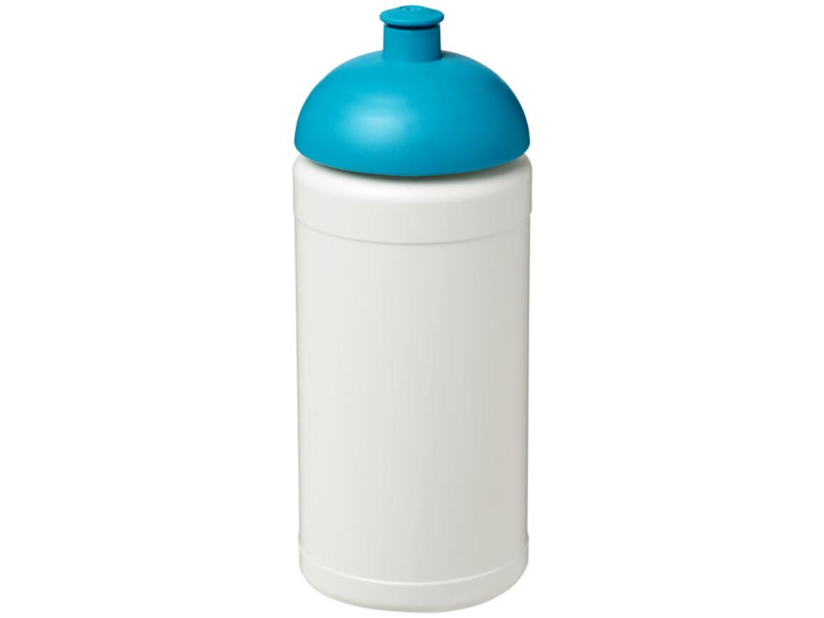Baseline® Plus 500 ml Sportflasche mit Stülpdeckel, weiss, aquablau bedrucken, Art.-Nr. 21006905