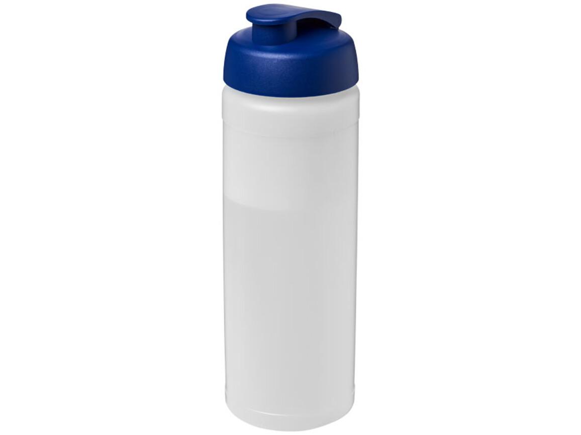 Baseline® Plus 750 ml Flasche mit Klappdeckel, transparent, blau bedrucken, Art.-Nr. 21007017