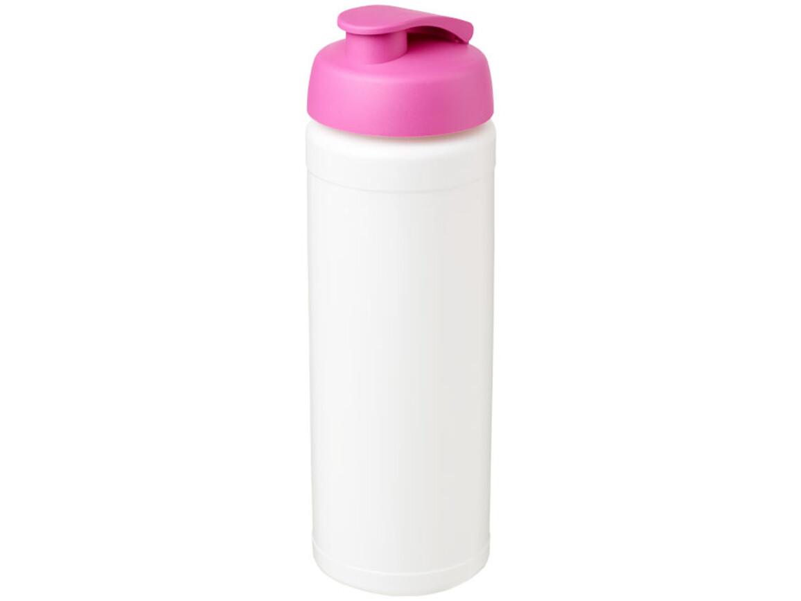 Baseline® Plus grip 750 ml Sportflasche mit Klappdeckel, weiss, rosa bedrucken, Art.-Nr. 21007408