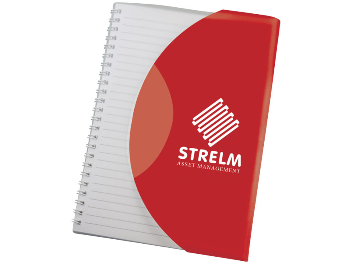 Curve A5 Notizbuch mit Spiralbindung, rot, weiss bedrucken, Art.-Nr. 21267018