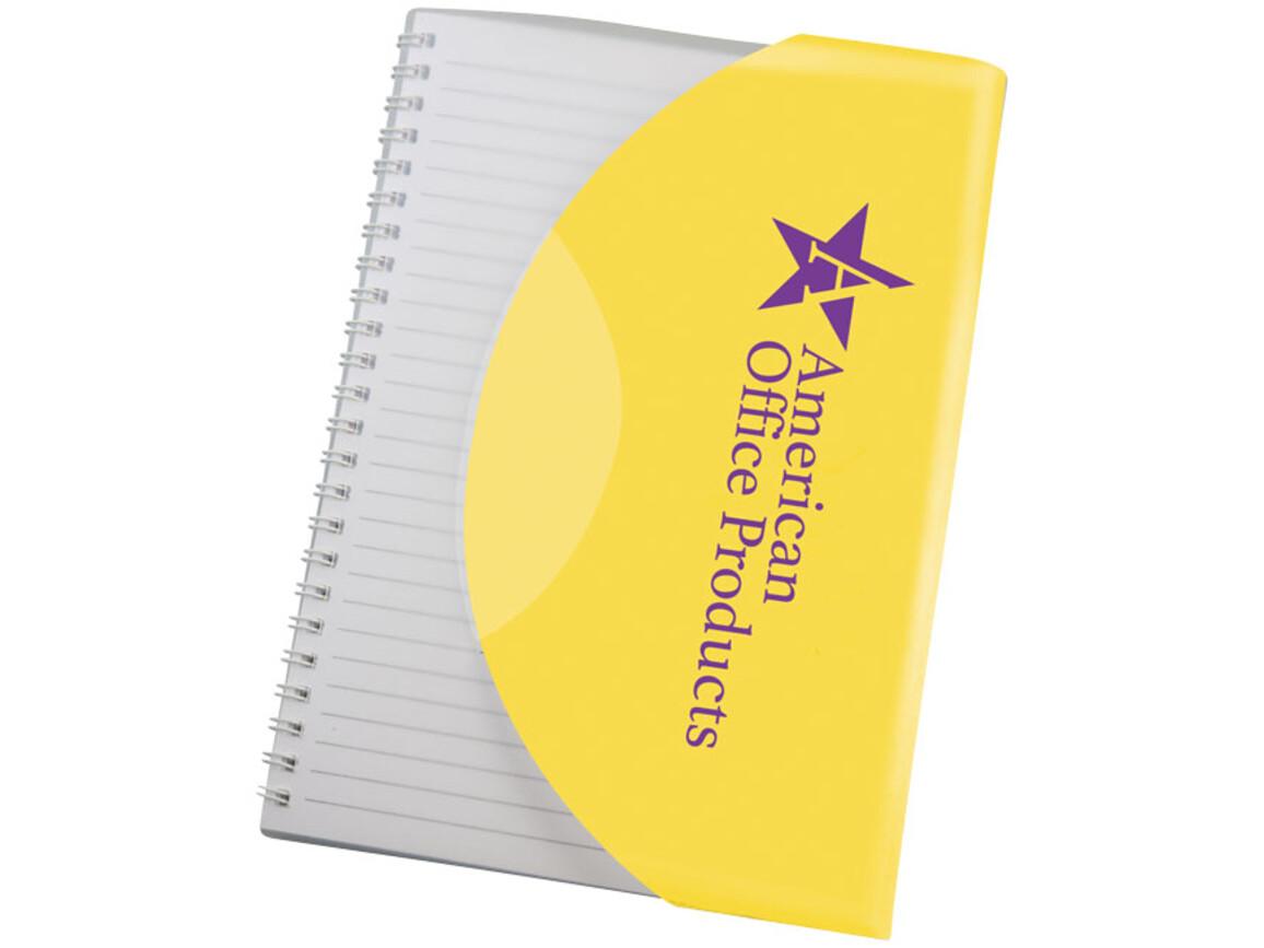 Curve A5 Notizbuch mit Spiralbindung, gelb, weiss bedrucken, Art.-Nr. 21267019