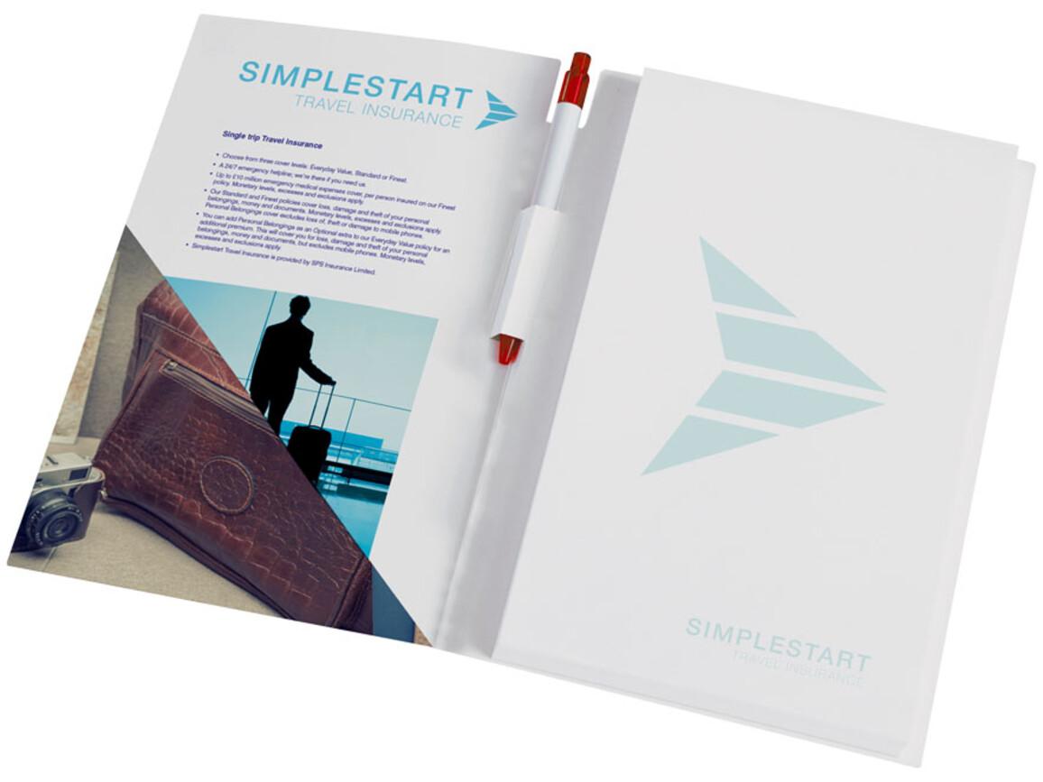 Essential Conference Pack A4 Notizbuch und Stift, weiss, rot bedrucken, Art.-Nr. 21274007