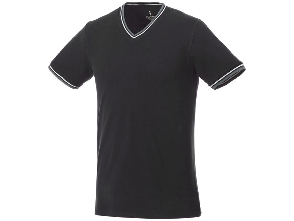Elbert Piqué T-Shirt für Herren, schwarz, grau meliert, weiss bedrucken, Art.-Nr. 38026995