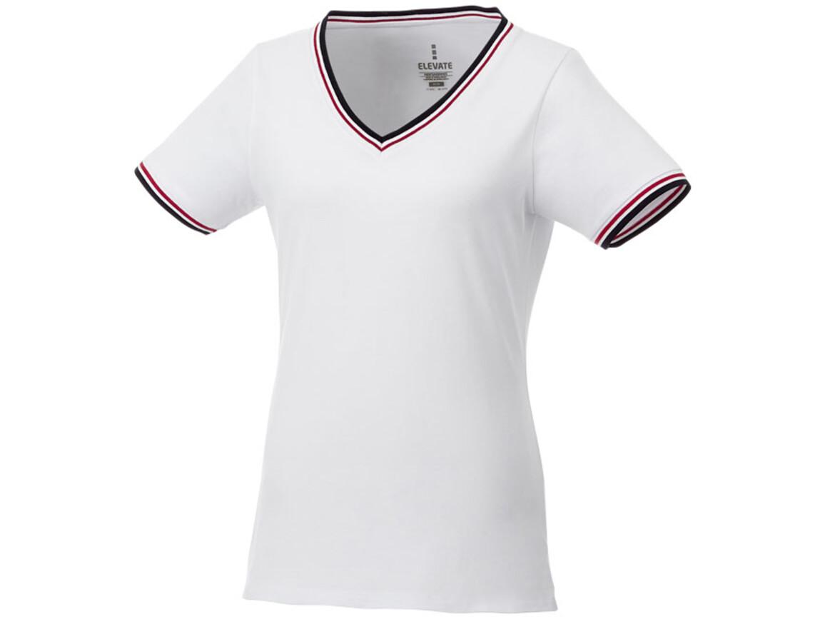 Elbert Piqué Damen T-Shirt, weiss, navy, rot bedrucken, Art.-Nr. 38027012