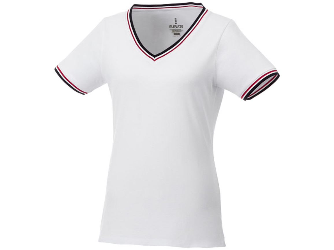 Elbert Piqué T-Shirt für Damen, weiss, navy, rot bedrucken, Art.-Nr. 38027010