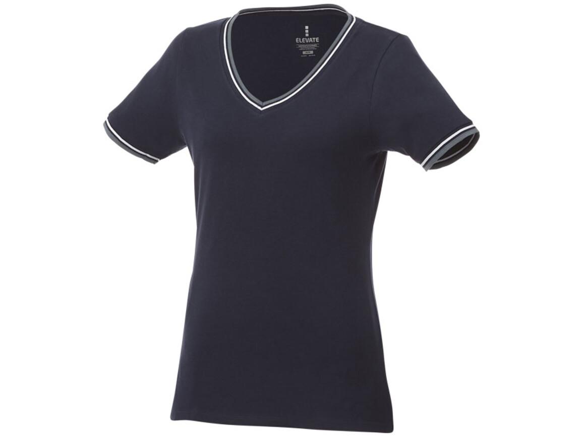 Elbert Piqué T-Shirt für Damen, navy, grau meliert, weiss bedrucken, Art.-Nr. 38027495