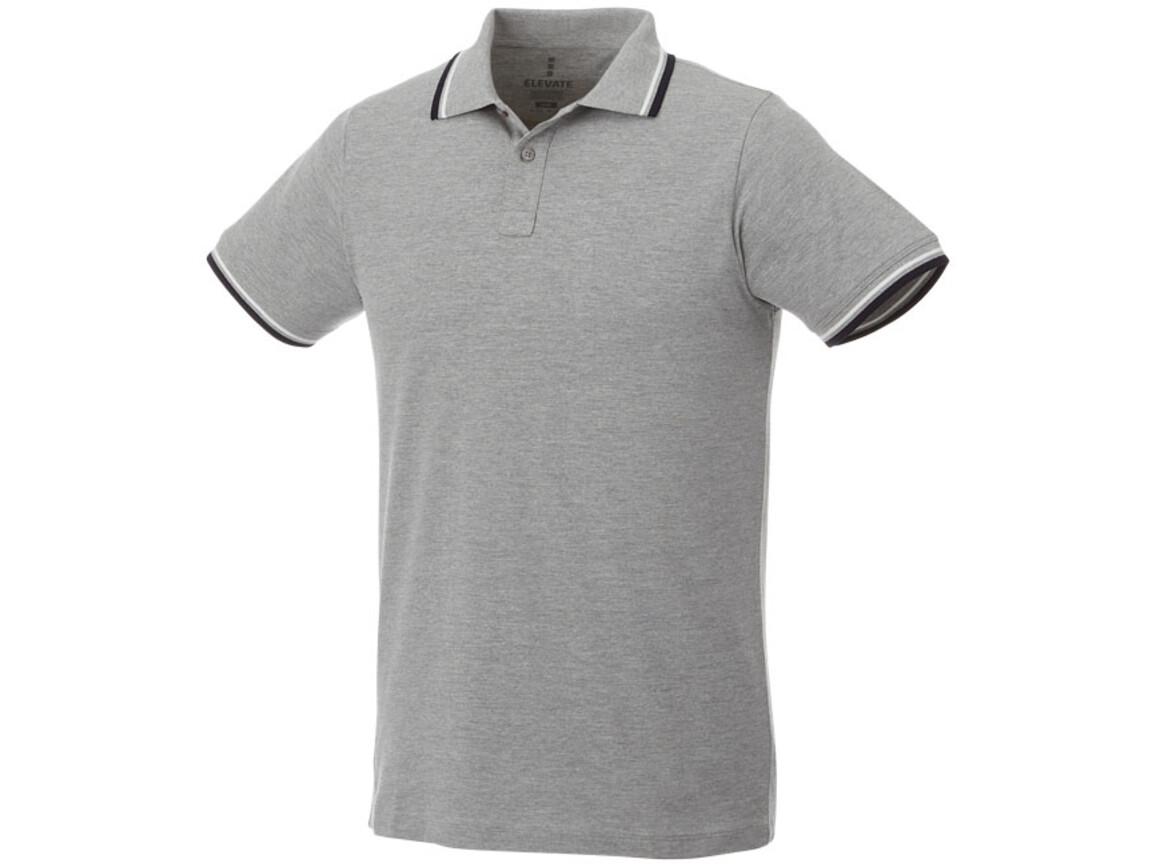 Fairfield Poloshirt mit weißem Rand für Herren, grau meliert, navy, weiss bedrucken, Art.-Nr. 38102965