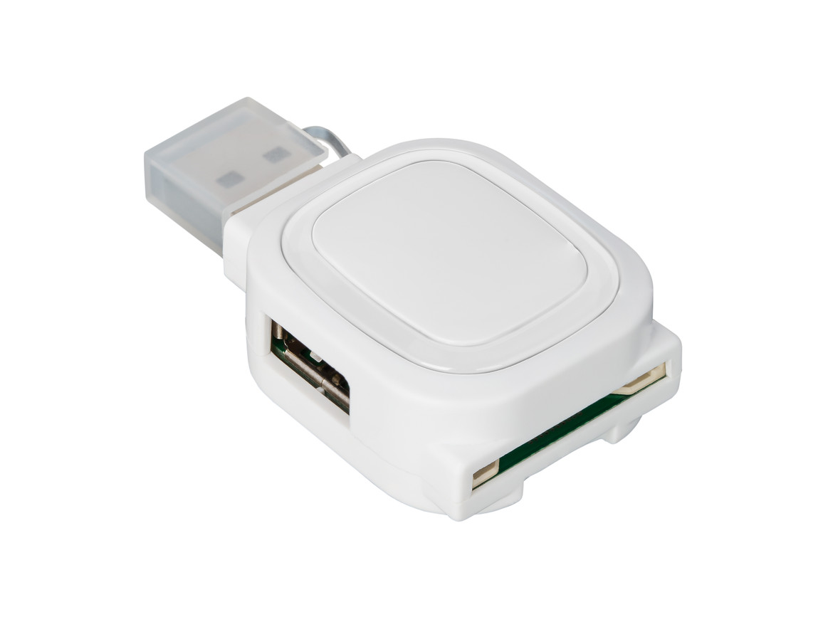 USB-Hub mit 2 Anschlüssen und Speicherkartenlesegerät REFLECTS-COLLECTION 500 bedrucken, Art.-Nr. _S_80505-WE-CR