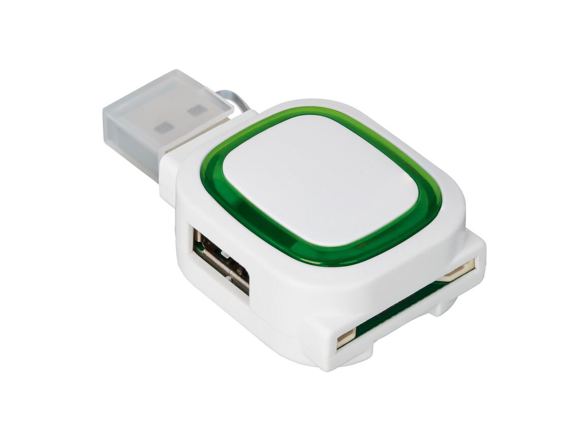 USB-Hub mit 2 Anschlüssen und Speicherkartenlesegerät REFLECTS-COLLECTION 500 bedrucken, Art.-Nr. _S_80505-WE-GN