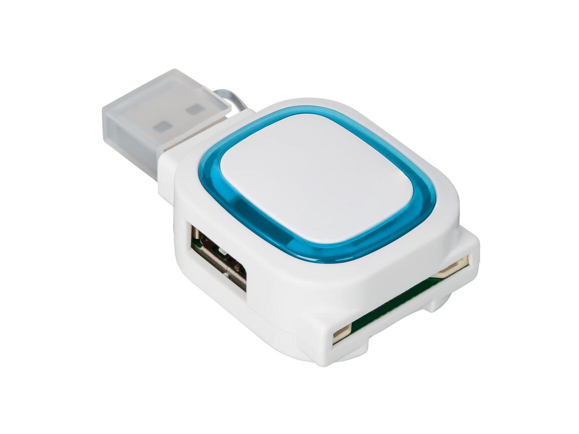 USB-Hub mit 2 Anschlüssen und Speicherkartenlesegerät REFLECTS-COLLECTION 500 bedrucken, Art.-Nr. _S_80505-WE-LBE