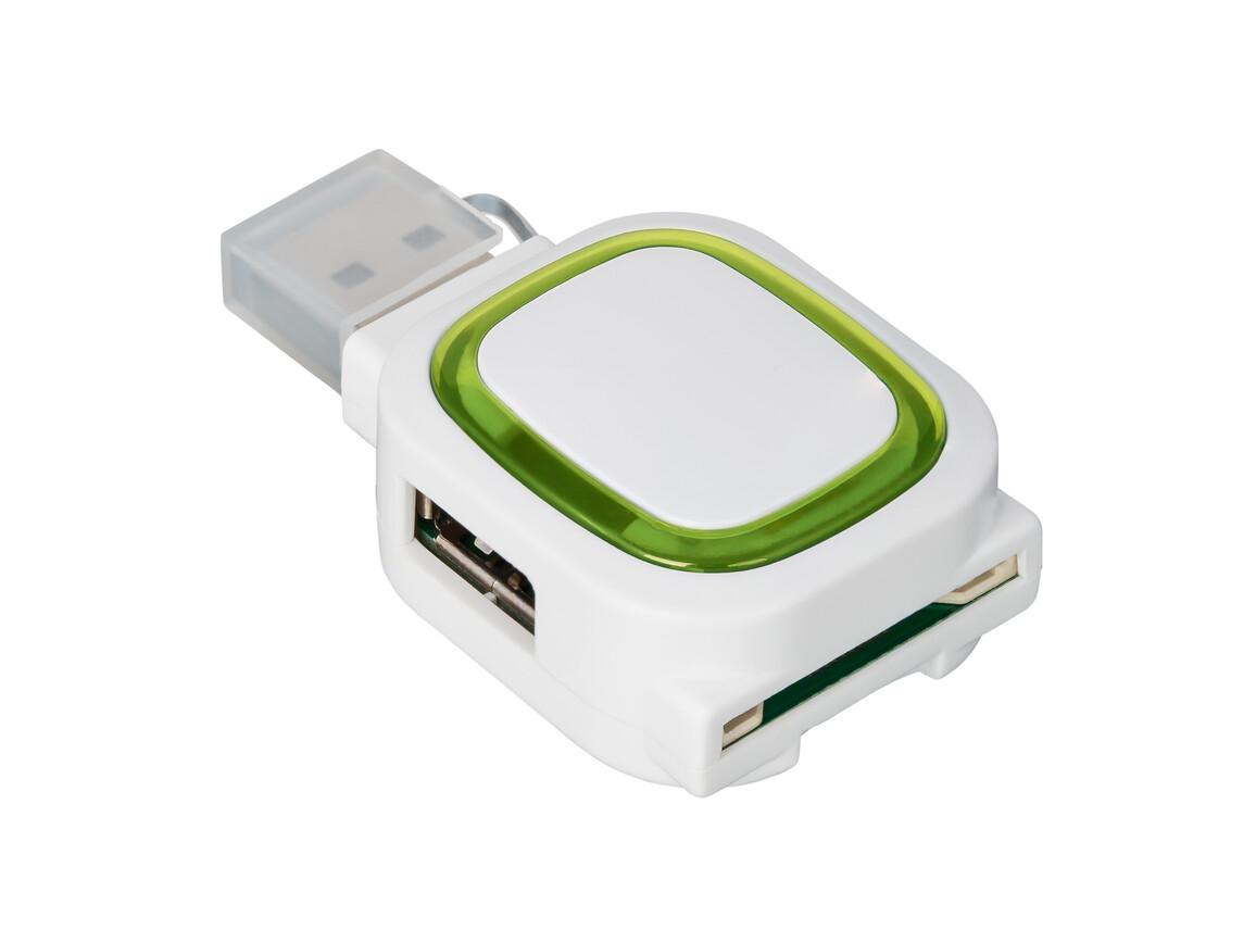 USB-Hub mit 2 Anschlüssen und Speicherkartenlesegerät REFLECTS-COLLECTION 500 bedrucken, Art.-Nr. _S_80505-WE-LGN