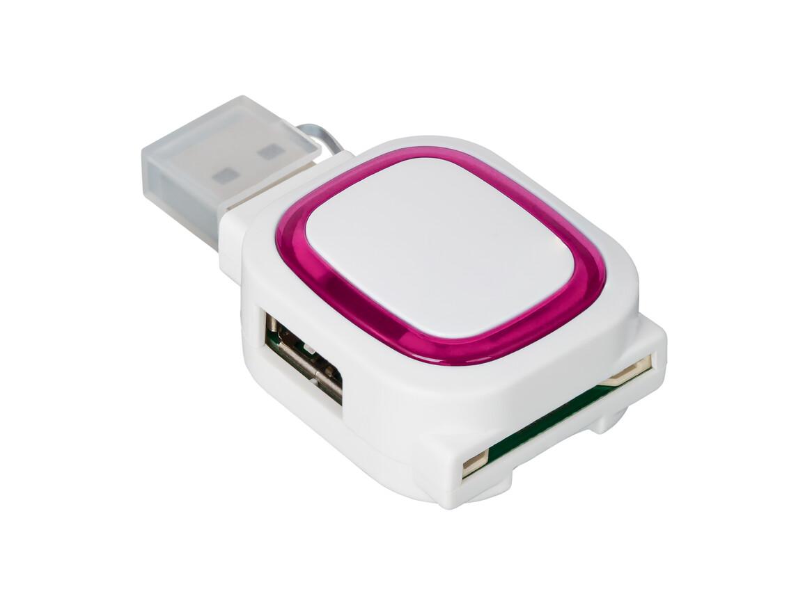 USB-Hub mit 2 Anschlüssen und Speicherkartenlesegerät REFLECTS-COLLECTION 500 bedrucken, Art.-Nr. _S_80505-WE-MG