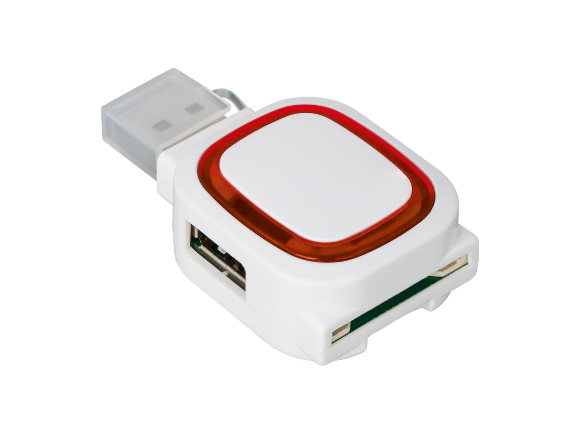 USB-Hub mit 2 Anschlüssen und Speicherkartenlesegerät REFLECTS-COLLECTION 500 bedrucken, Art.-Nr. _S_80505-WE-RD