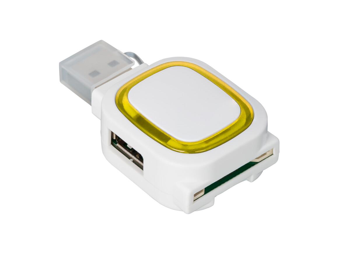 USB-Hub mit 2 Anschlüssen und Speicherkartenlesegerät REFLECTS-COLLECTION 500 bedrucken, Art.-Nr. _S_80505-WE-YW