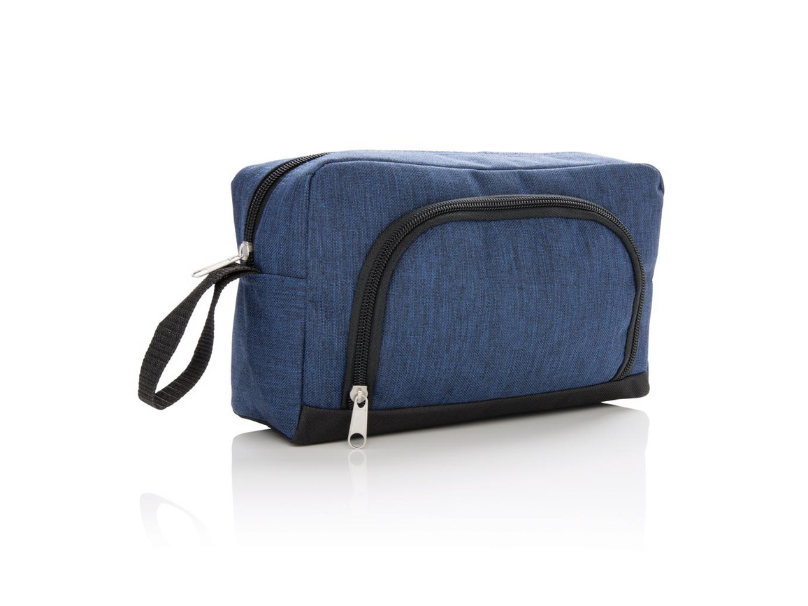 Basic Two Tone Kosmetiktasche blau, schwarz bedrucken, Art.-Nr. P703.025