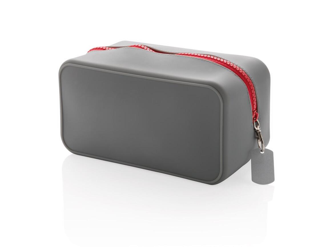 Auslaufsicherer Kulturbeutel aus Silikon grau, rot bedrucken, Art.-Nr. P703.032