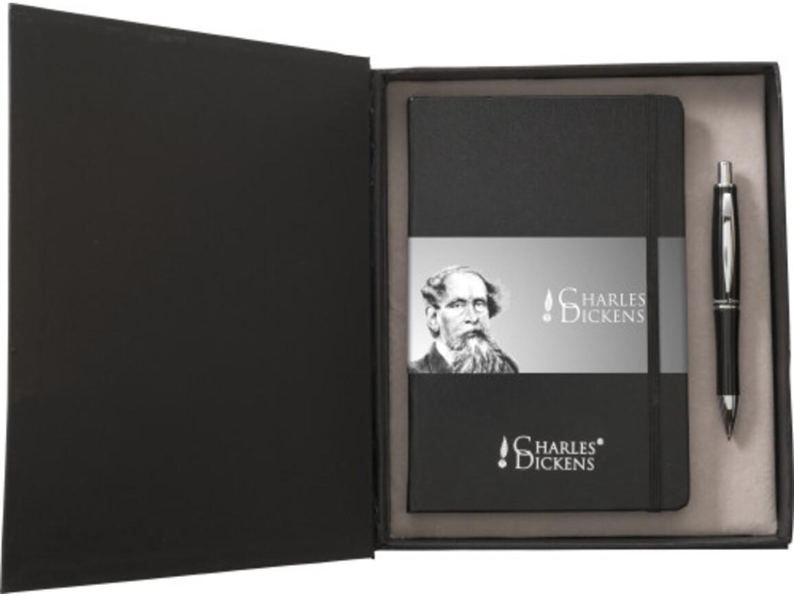 Charles Dickens Schreibset 'Notary' – Schwarz bedrucken, Art.-Nr. 001999999_0976