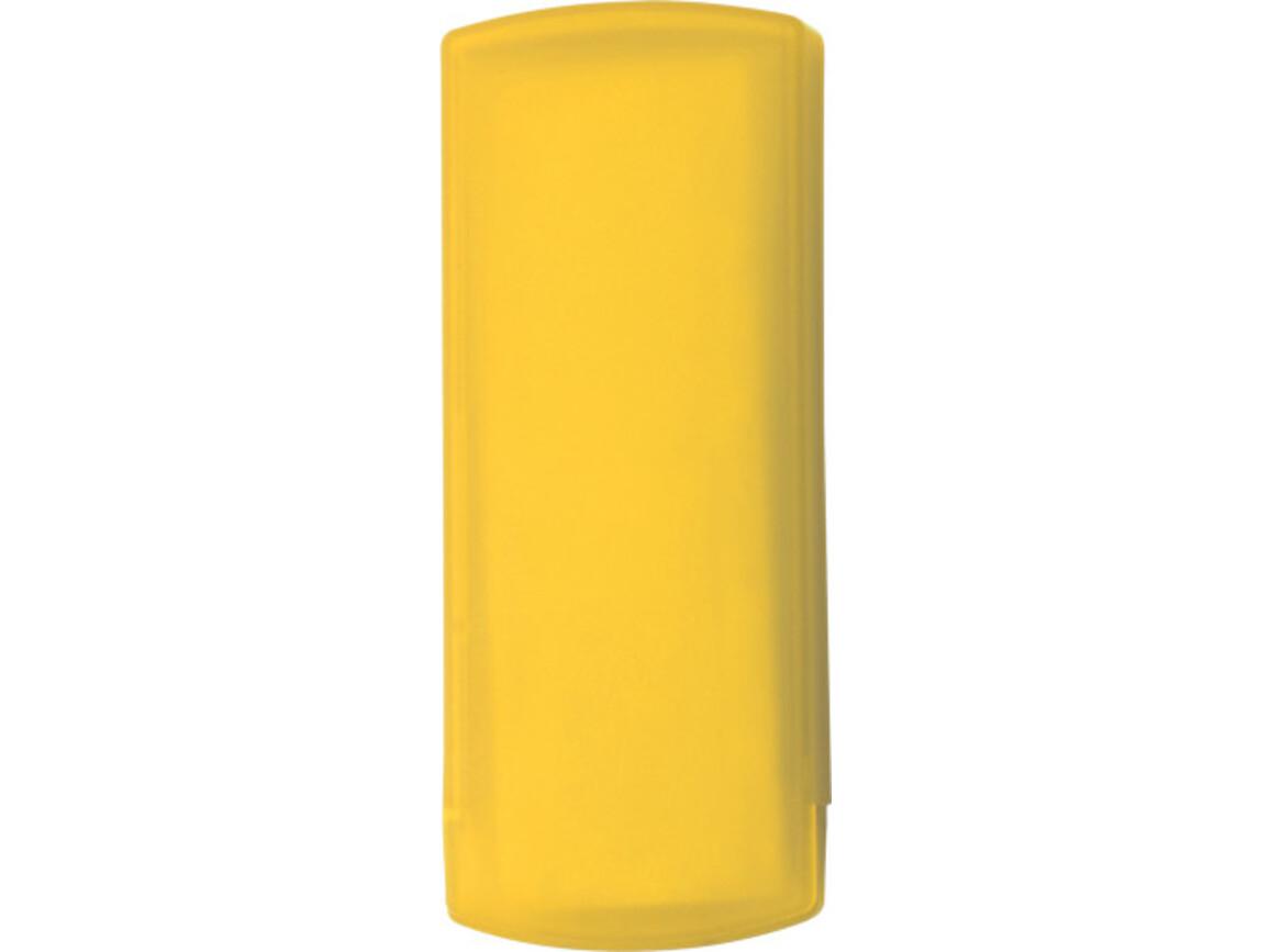 Pflasterbox 'Pocket' aus Kunststoff – Gelb bedrucken, Art.-Nr. 006999999_1020
