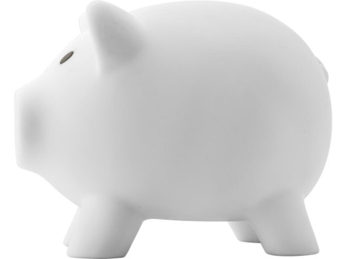 Sparschwein  'Porky' aus Kunststoff – Weiß bedrucken, Art.-Nr. 002999999_1842
