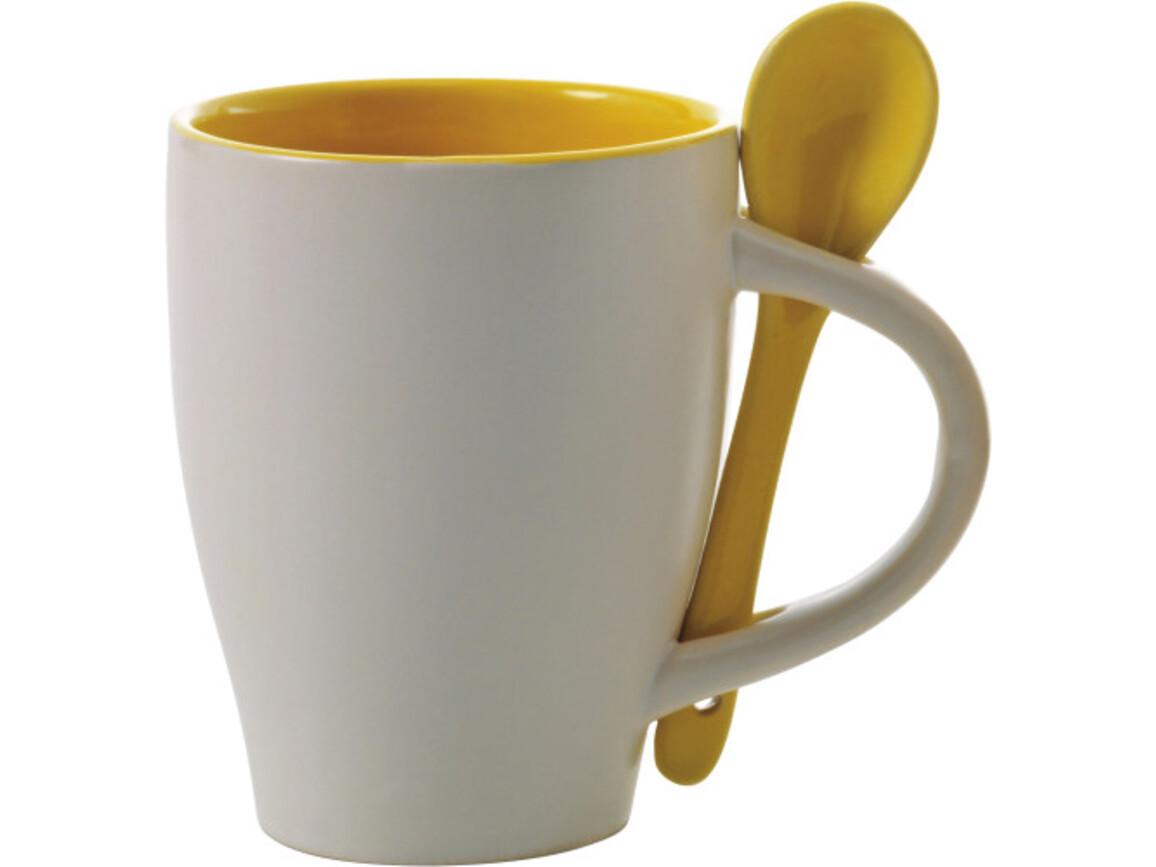 Becher 'Valentine' aus Keramik – Gelb bedrucken, Art.-Nr. 006999999_2855