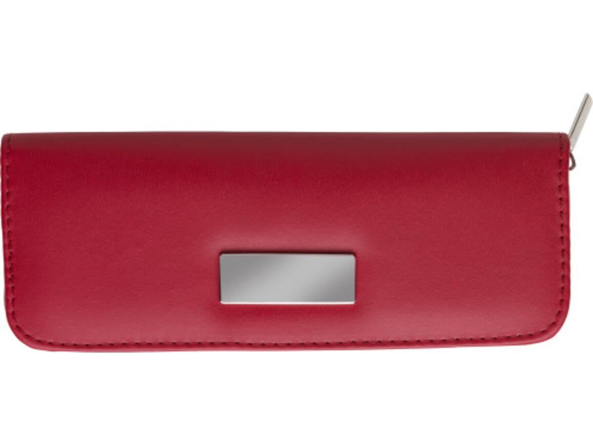 Schreibset 'La Palma' aus Kunstleder – Rot bedrucken, Art.-Nr. 008999999_3006