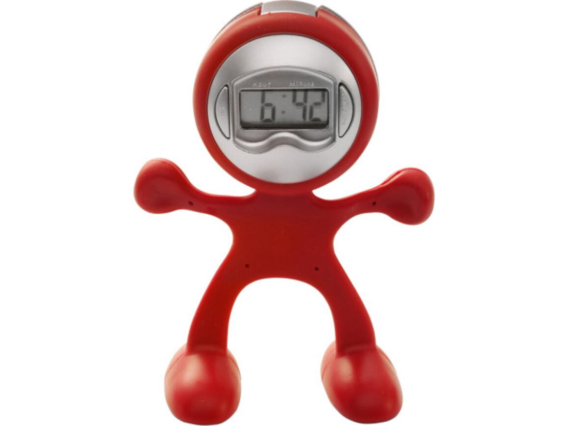 Tischuhr 'Magic Men' aus flexiblem ABS-Kunststoff – Rot bedrucken, Art.-Nr. 008999999_3073