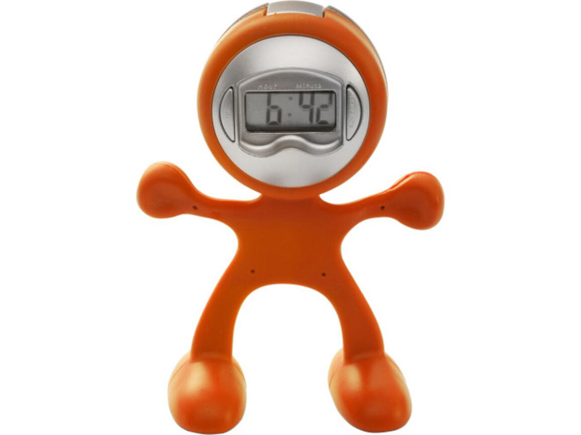 Tischuhr 'Magic Men' aus flexiblem ABS-Kunststoff – Orange bedrucken, Art.-Nr. 007999999_3073