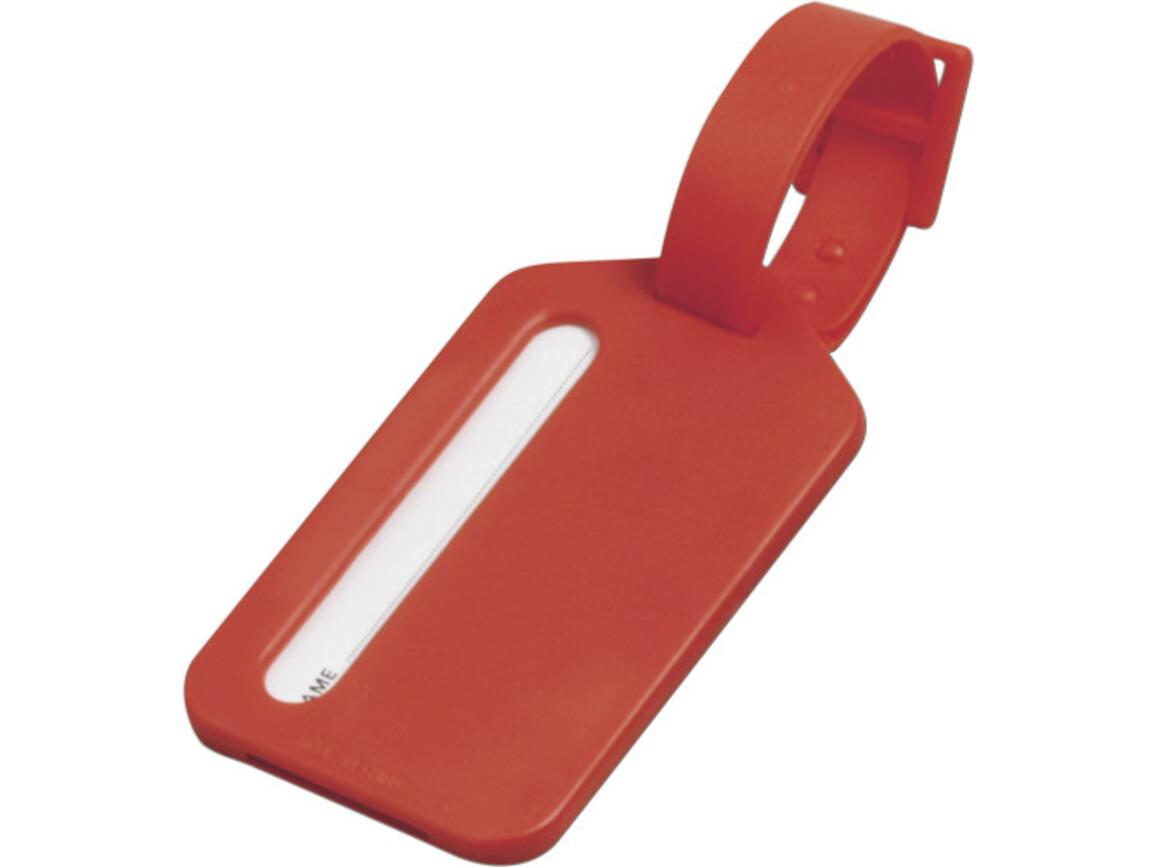 Kofferanhänger 'Travel' aus Kunststoff – Rot bedrucken, Art.-Nr. 008999999_3132
