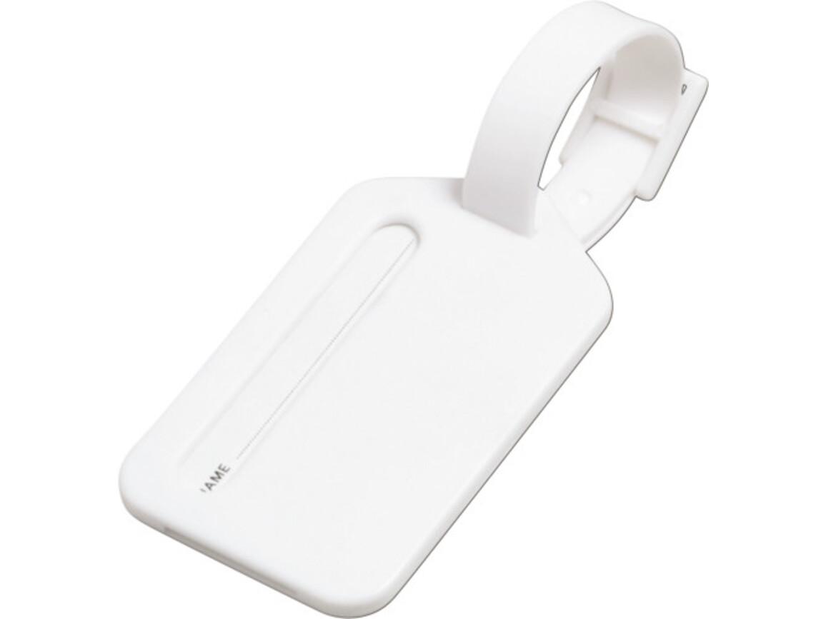 Kofferanhänger 'Travel' aus Kunststoff – Weiß bedrucken, Art.-Nr. 002999999_3132