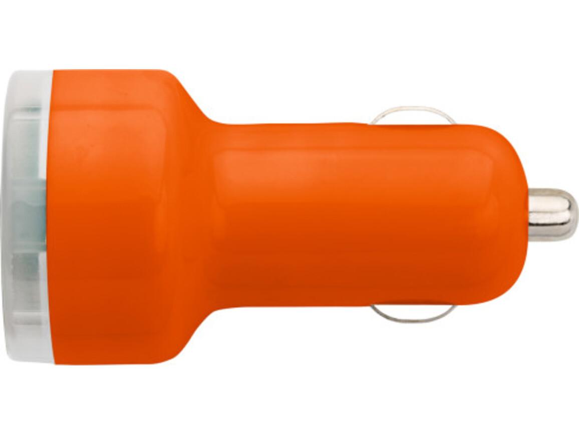 USB-KFZ Ladestecker 'Duo' aus Kunststoff – Orange bedrucken, Art.-Nr. 007999999_3280