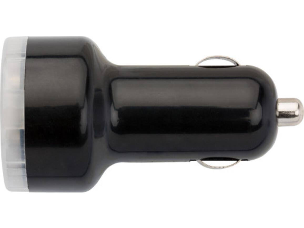USB-KFZ Ladestecker 'Duo' aus Kunststoff – Schwarz bedrucken, Art.-Nr. 001999999_3280